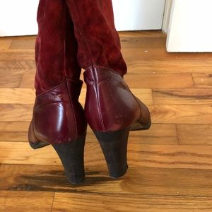 Vintage Red Suede Boots